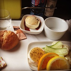God, I love @Eurostar's Standard Premier meals. This afternoon it was a delicious salmon terrine with cucumber and a light potato salad. The dessert was some kind of cream + shortbread + strawberry jam manna from heaven. I had to stop myself from licking