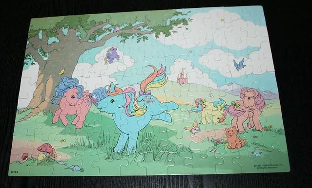 My Little Pony Jigsaw puzzle (1985) - Firefly, Starflower, Trickles & Peachy on a meadow