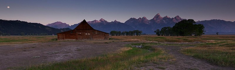 Full Moon and Sunrise at Moulton Barn - Grand Teton National Park