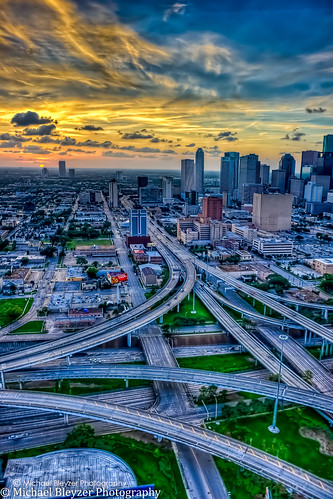 sunset cars night downtown air houston aerial helicopter aerialphotography hdr freeways aerials handheldhdr flatcity handheldhdrfromhelicopter 5fhdr