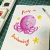 #quickdoodle #watercolour #keeponswimming #notetoself #octopus #afterlongday just #keepon #swimming #chillax