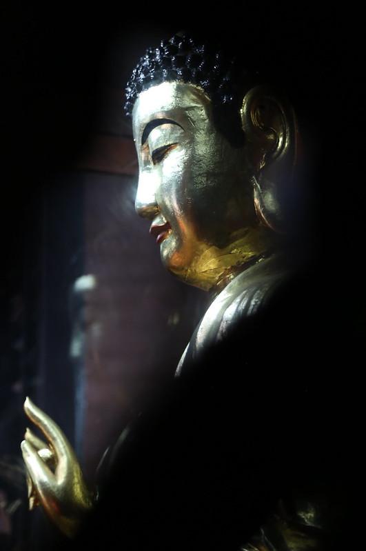"Buddha statue in the multi-faith temple of Phước Hải Tự (福海寺, ""Luck Sea Temple"" ) in Saigon"