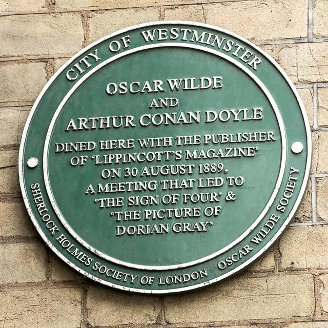 oscar wilde and arthur conan doyle green plaque open plaques. Black Bedroom Furniture Sets. Home Design Ideas