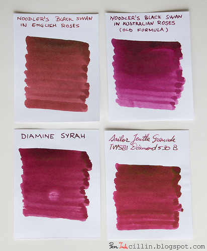 Noodler's Black Swan in English Roses vs Australian Roses vs Diamine Syrah vs Sailor Jentle Grenade