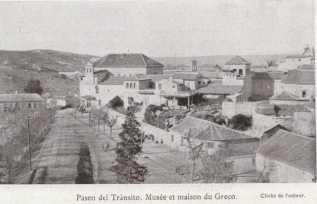 Sinagoga del Tránsito y Museo del Greco a comienzos del siglo XX. Fotografía de Élie Lambert publicada en su libro Les Villes d´Art Célebres: Tolède (1925)