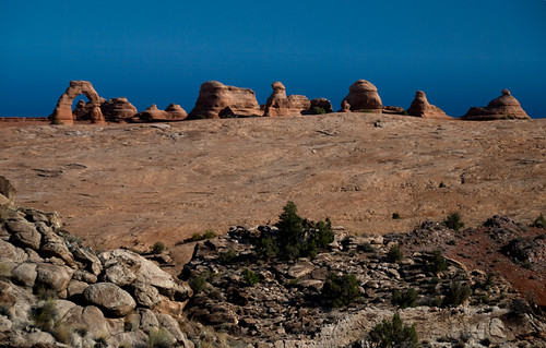 Delicate Arch from a distance in Arches National Park, Utah, USA