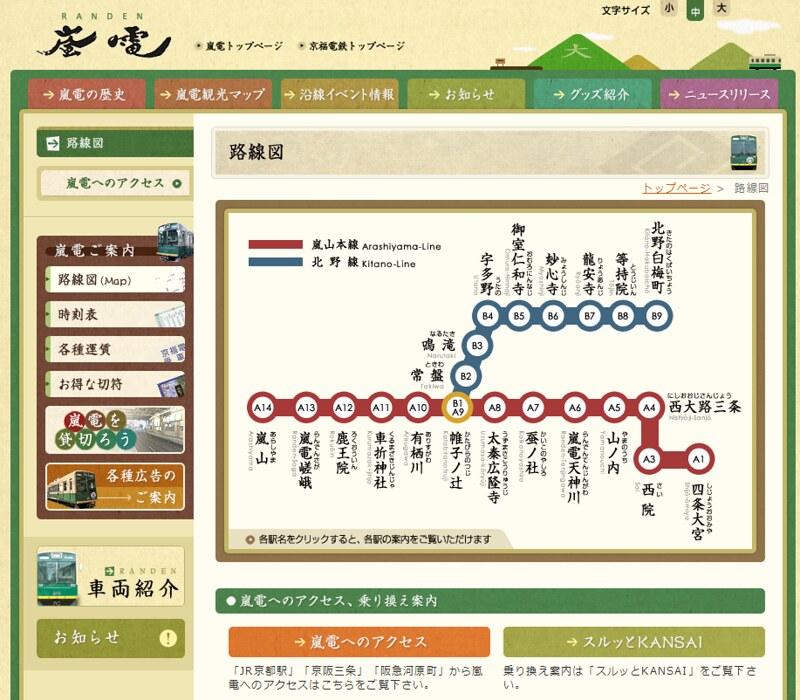 路線図   京都・嵐山の観光に、京都、四条大宮から嵐山、北野白梅町を繋ぐ、嵐電