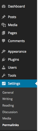 WordPress Dashboard, Settings, PermaLinks