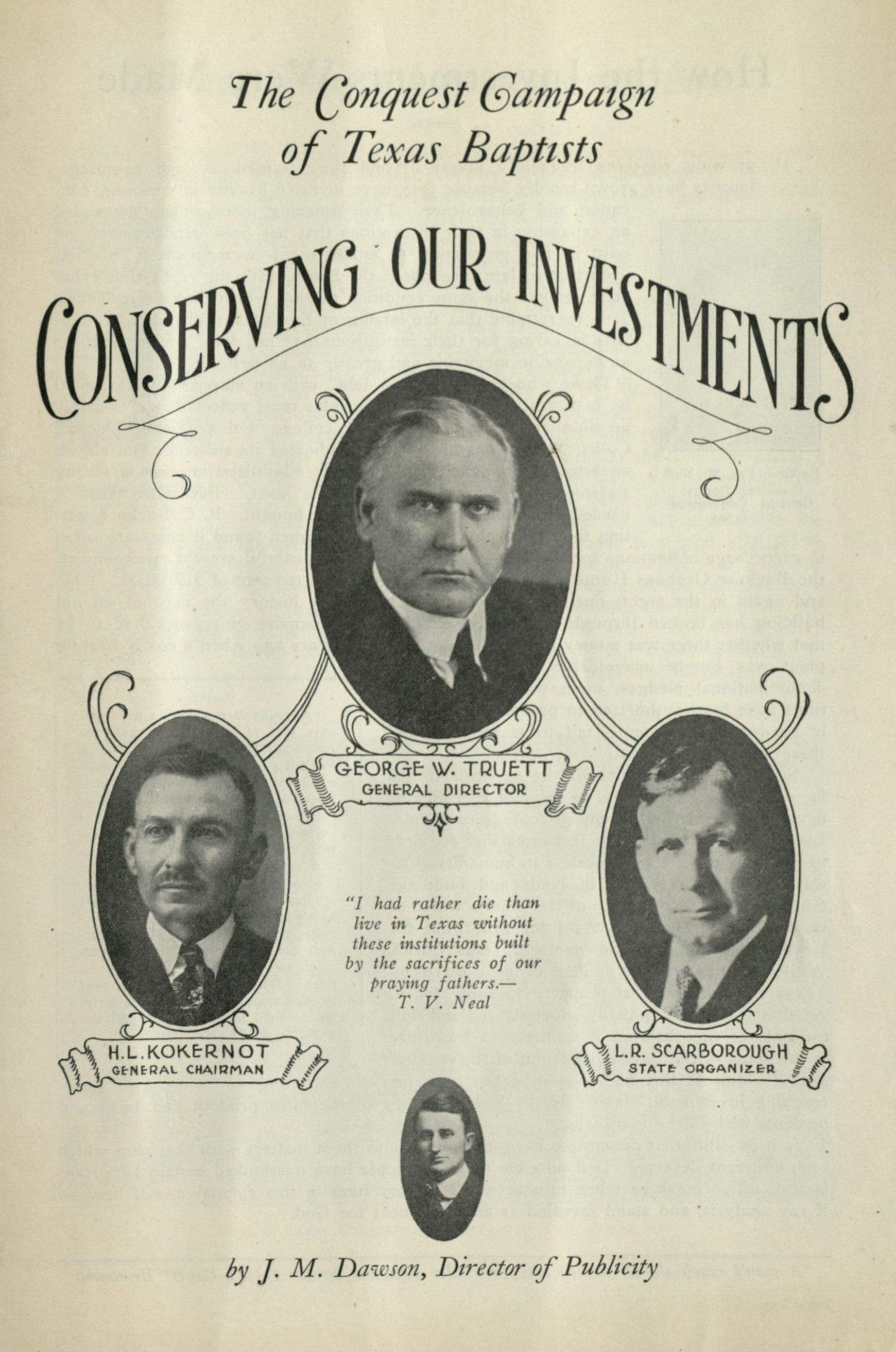 """Concerning Our Investments"" Texas Baptist fundraising pamphlet, circa 1926"