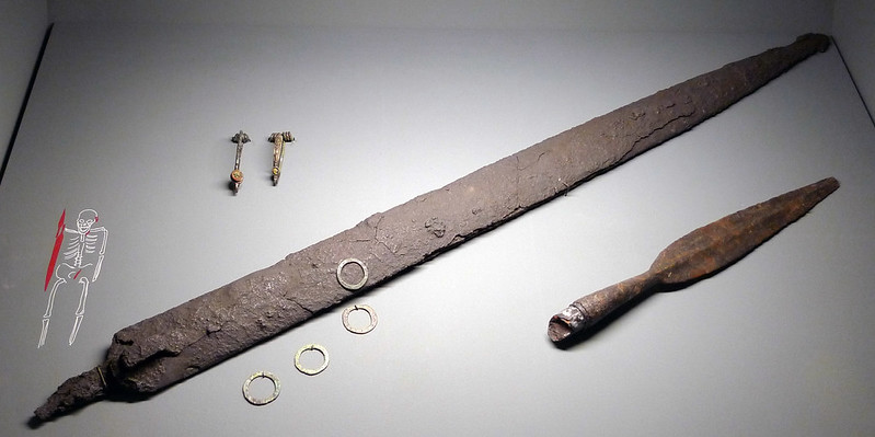 Iron weapons and fibulae from a warrior's grave, c. 350 BC