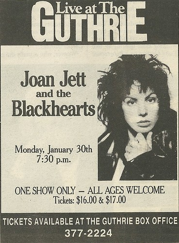 01/30/89 Joan Jett & The Blackhearts @ The Guthrie, Minneapolis, MN