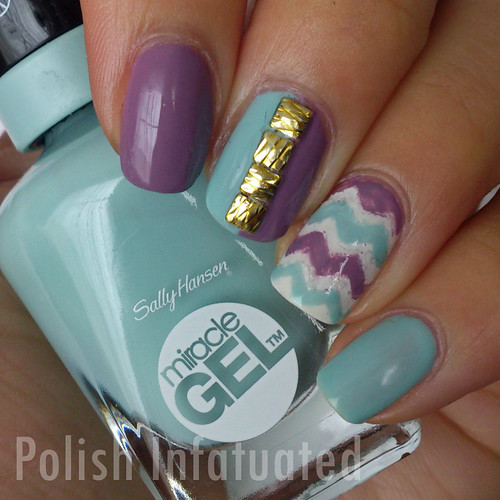 purple and aqua gel chevron
