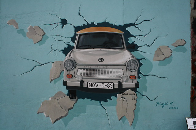 Trabi on Berlin Wall