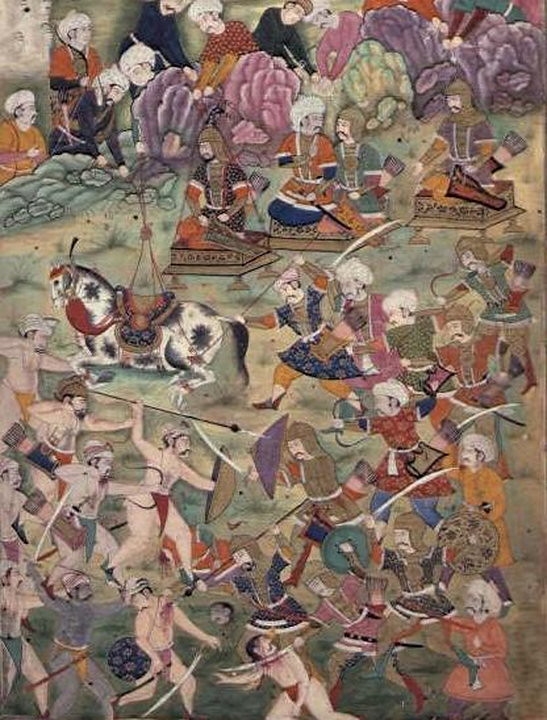 Battle of Ankara. A Mughal illustration