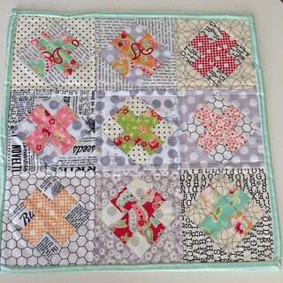 Now that it's received I can share a #miniquilt I sewed up as a birthday gift for @stitchykelly. I really enjoyed making these blocks. I think I'll make me one with the scraps. #bonnieandcamille #crossblock#sewcarolina