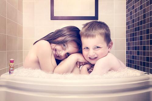 Family Bath Together Too big to bath together?