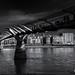 Sun catching Millennium Bridge