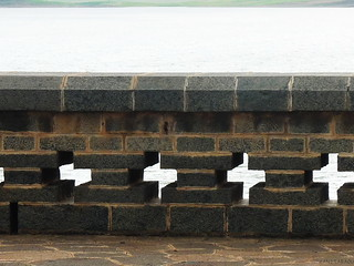 Parapet on dam walkway