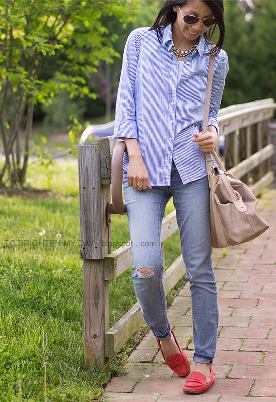 stripe button up shirt, light wash jeans, red loafers