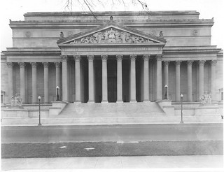 Photograph of the National Archives Building Constitution Avenue Entrance Portico and Pediment, 12/22/1935