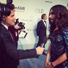 Best beard in #Cannes easy. Here's me and @ConchitaWurst rocking the #amfAR carpet in #cannes #beard #showbiz #conchitawurst #eurovision