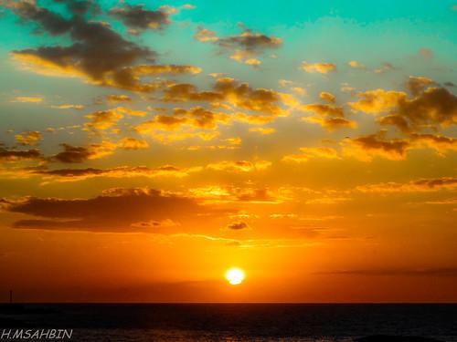sunset sea landscape natural libya tripoli