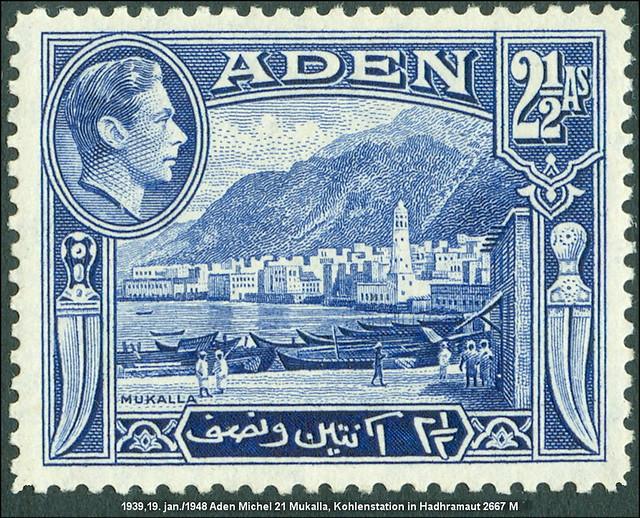 MiNr. 21 1939, 19. jan./1948 Aden Michel 21 Mukalla, Kohlenstation in Hadhramaut 2667 M Hafenstadt mit Umland im Südwesten der Arabischen Halbinsel