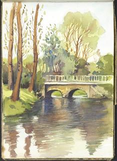 Landscape with a river, a stone bridge, and trees, France [Sketchbook 1, folio 11] / Paysage avec rivière, pont de pierre et arbres, France [Carnet de croquis 1, folio 11]