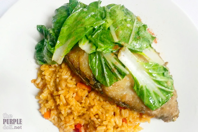 Creamy Tomato Fried Rice with Fish and Bokchoy