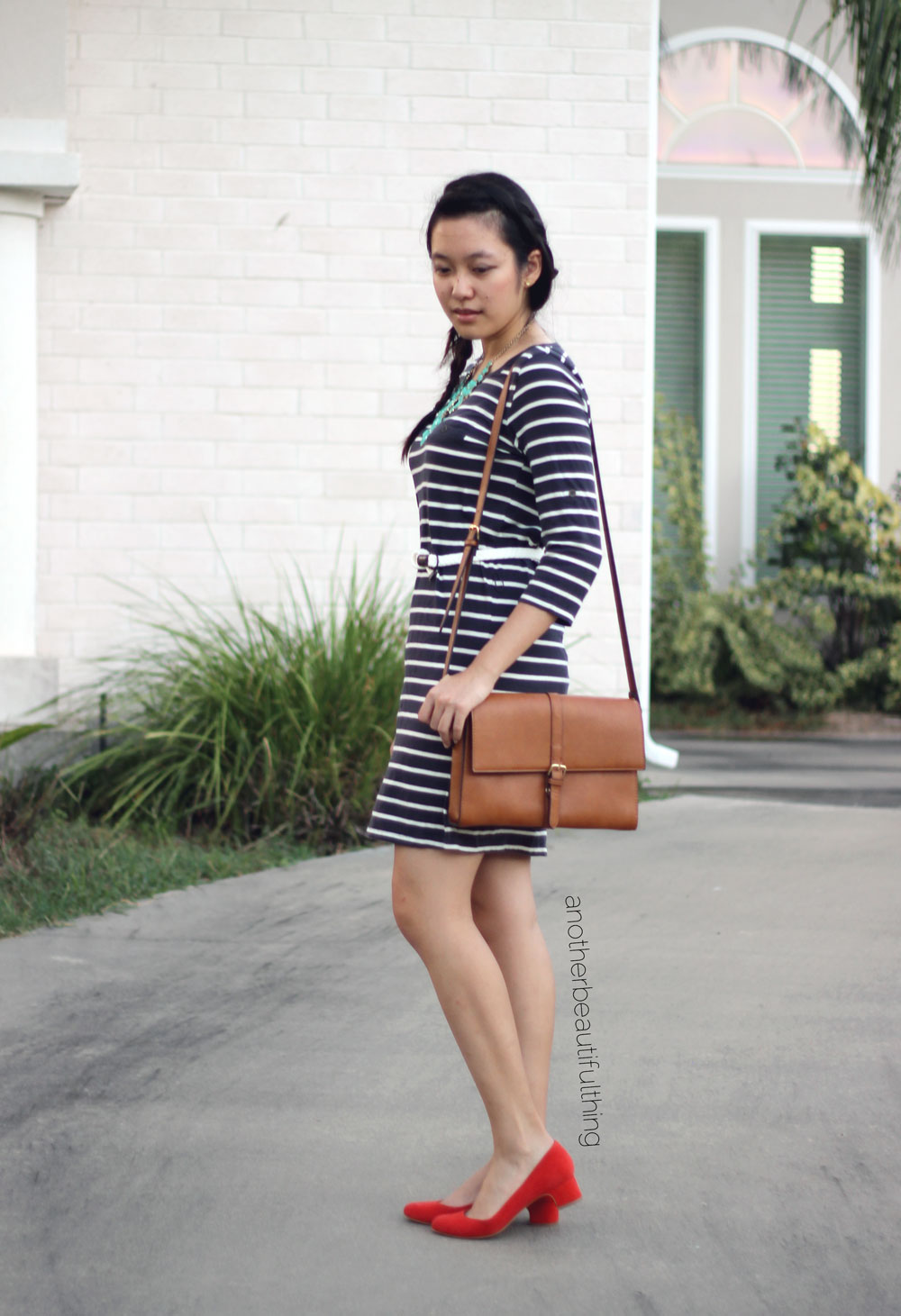 Brown satchel and t-shirt dress || Talbots Kyla Suede Almond-Toe Pumps