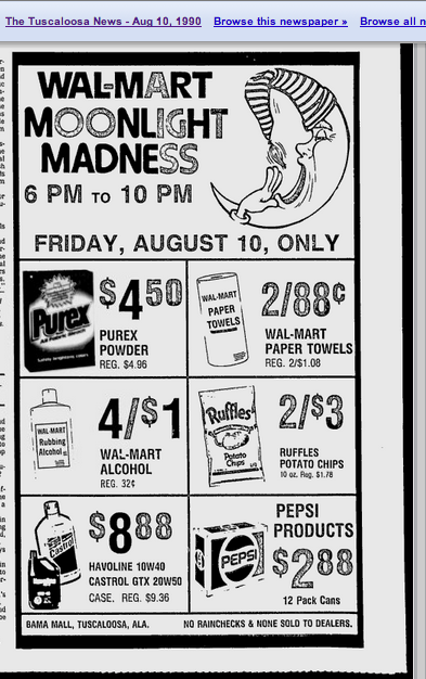 Walmart Moonlight Madness Sale, 1990