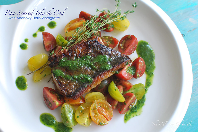 Pan Seared Black Cod with Anchovy-Herb Vinaigrette