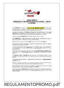 REGULAMENTO PROMOÇÃO UM MÊS DE AULAS DE FUTEBOL GRÁTIS - FLA BARRA