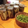 Boys making the first batch of garden pickles and dilly beans with friends. #inourgarden2014 #growyourown #inmykitchen
