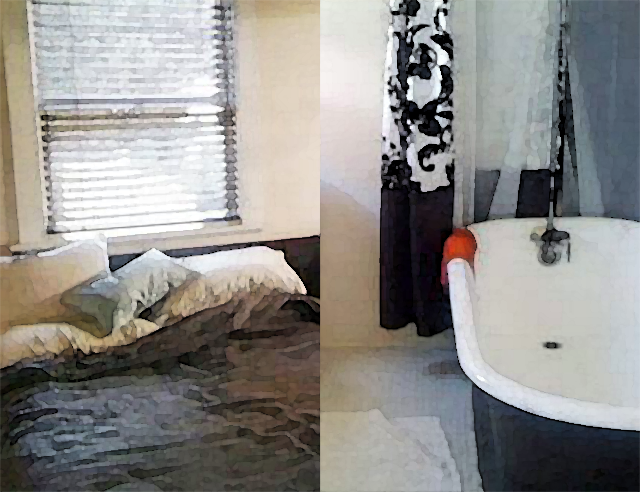 Hollywood Pensione hotel interior, bed & bathtub