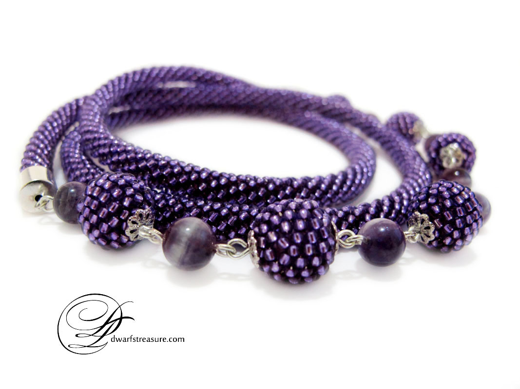 Stylish purple beaded long necklace with beaded beads