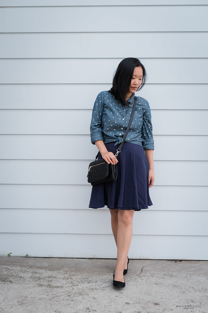 Polka dot chambray shirt navy skirt 08