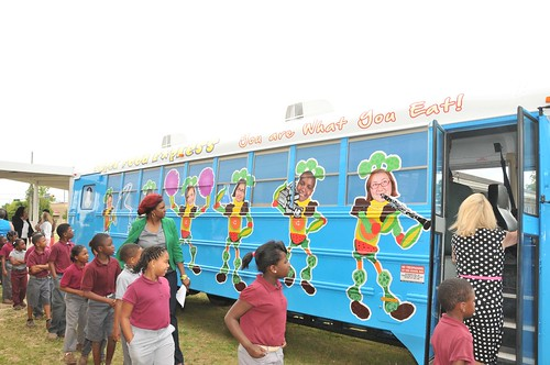Mobile County's Super Food Express bus travels from nine to 12 schools to ensure their children are fed healthy meals when school is out of session.