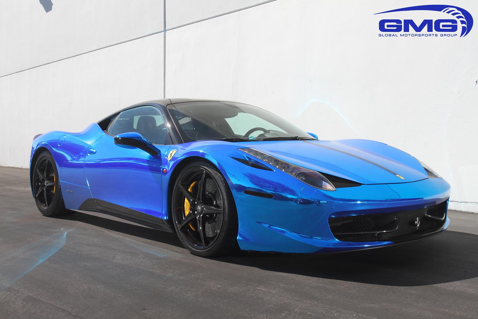 Chrome Car Wrap >> 2012 Ferrari 458 w/ Novitec Lowering Springs and Blue ...