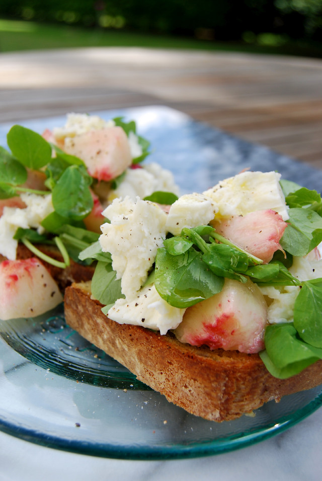 White Peach, Mozzarella & Pea Shoot Bruschetta