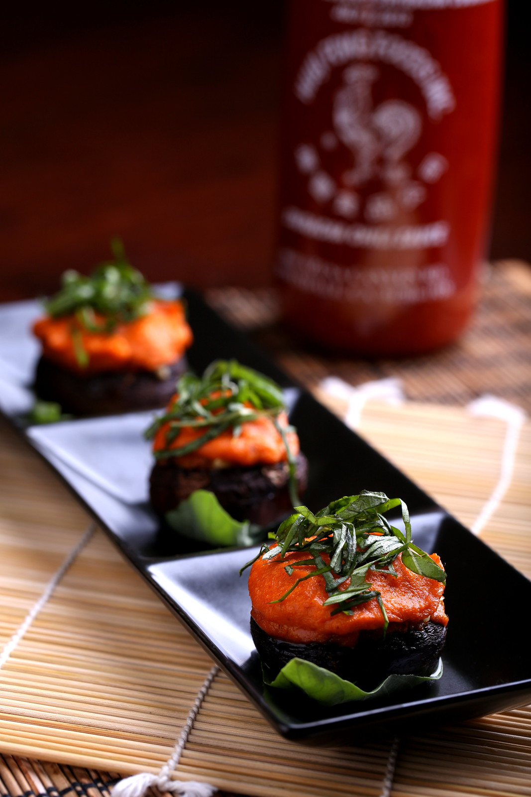 Stuffed Sriracha 'Shrooms