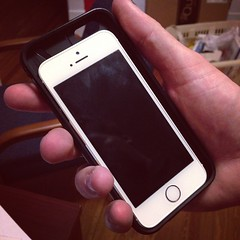 iPhone 5s in my new iPhone 6 case. Yeah, it's a little bigger.