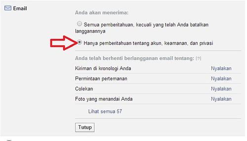 stop email pemberitahuan dari facebook