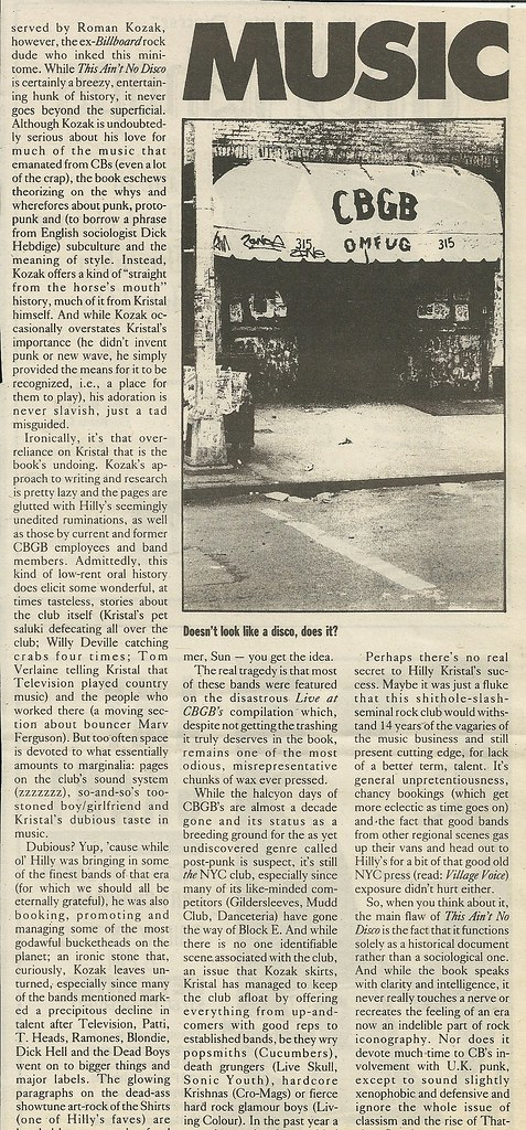 """This Ain't No Disco: The Story of CBGB"" (Book Review - 10/26/88 City Pages)(2 of 3)"