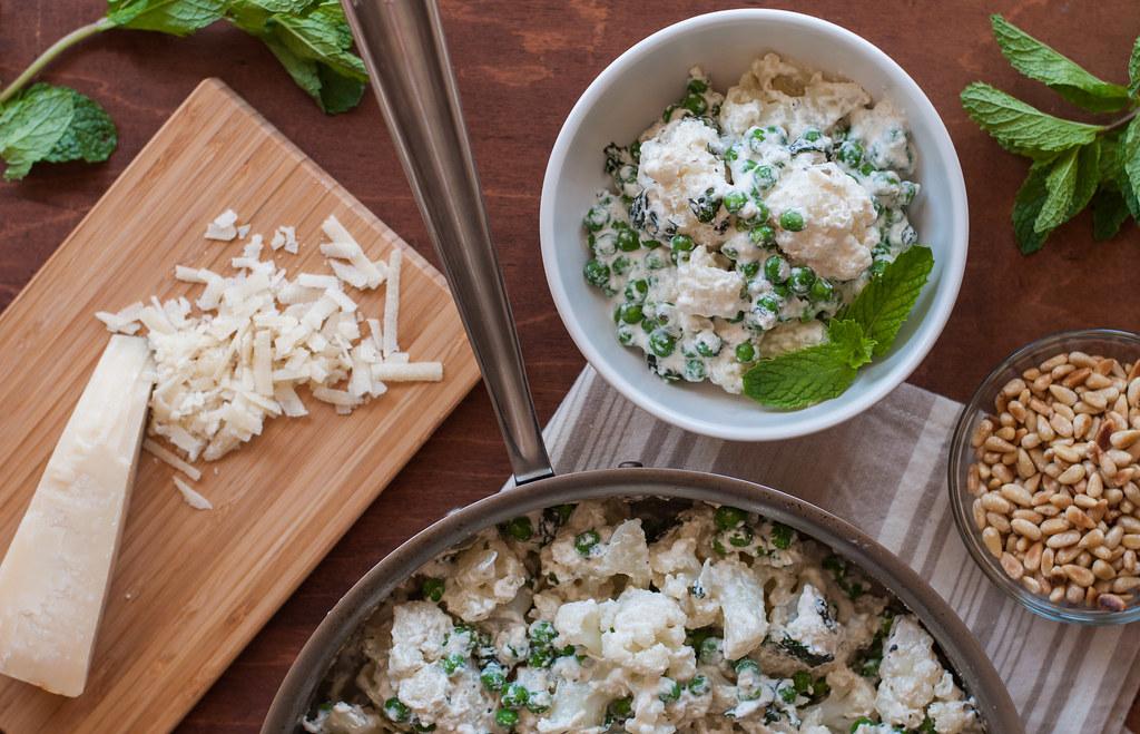 Cauliflower, peas, ricotta sauce