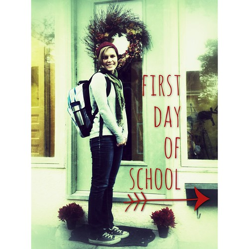 First Day of School (with a backpack)