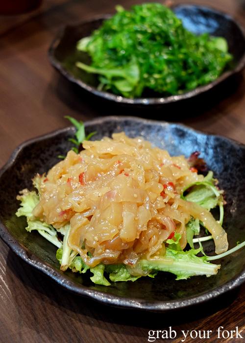 Kurage otsumami Japanese jellyfish at Pasta Goma, Sydney