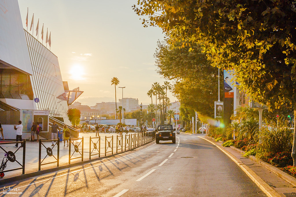 Palais des Festivals in Cannes at sunset