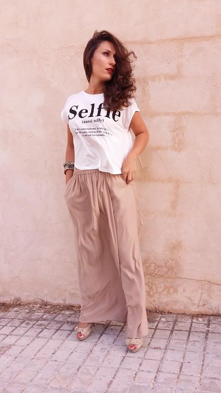 crop top, mensaje, palazzo beige, message, beige palazzo, Berskha, Zara, Bimba &  Lola, Suiteblanco