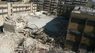 الدمار في مدرسة عين جالوت حلب بعدم قصفها ايار 2014